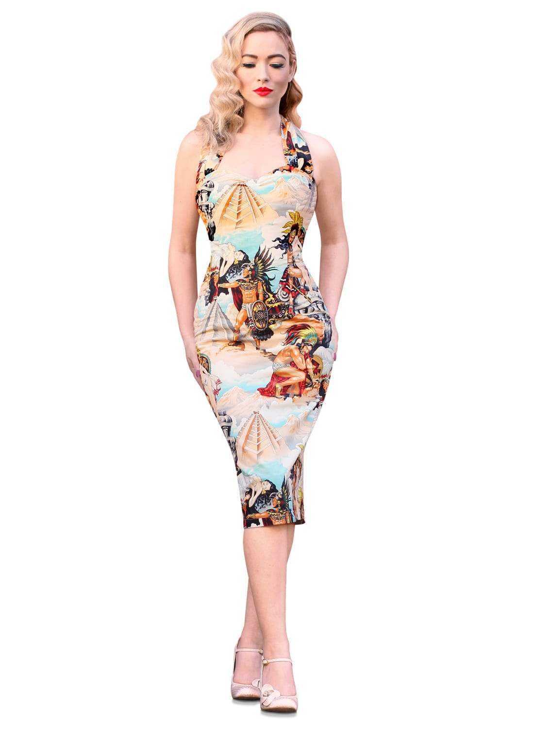 popo itza 50s pencil dress retro