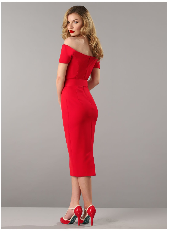 Rhonda S Revenge Red Vintage 50s Style Pencil Dress