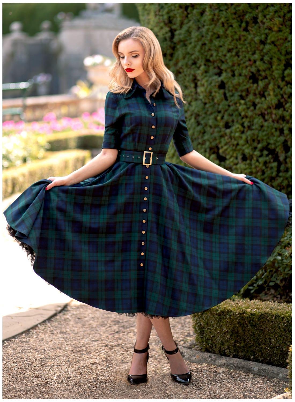 Way Out West Black Watch Tartan 50s Style Swing Dress