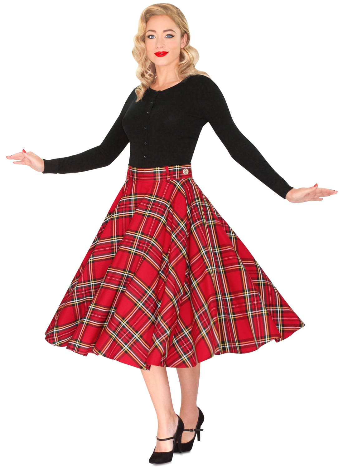 A long red skirt looks best on medium to tall women with slender figures; if a petite woman tries the long look, they may end up swallowed in fabric. If you?re on the short side, don?t wear skirts that go past your knees, and a tapered skirt might make you appear a little taller.