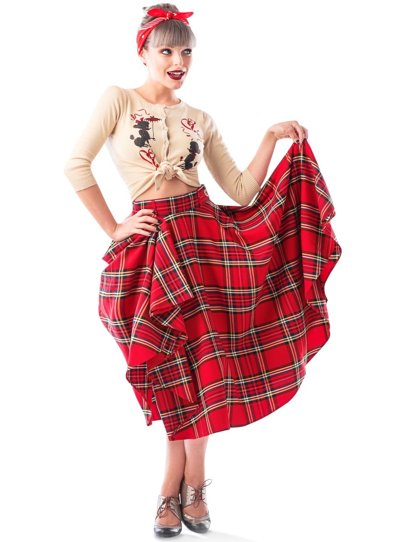 stewart tartan vintage style bonny skirt british retro
