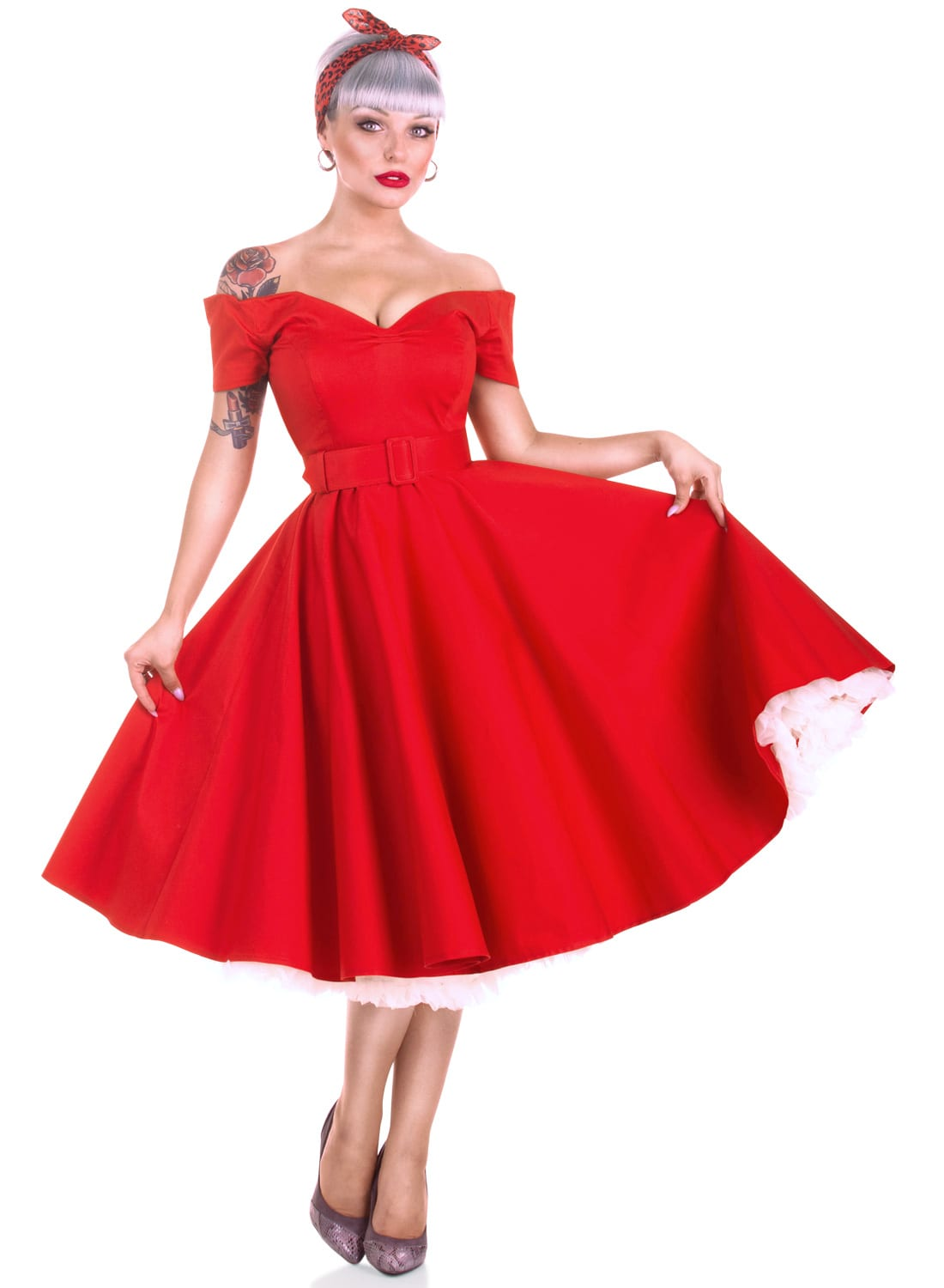 'Dee Dee' Red 50s Style Vintage Full Circle Dress ...
