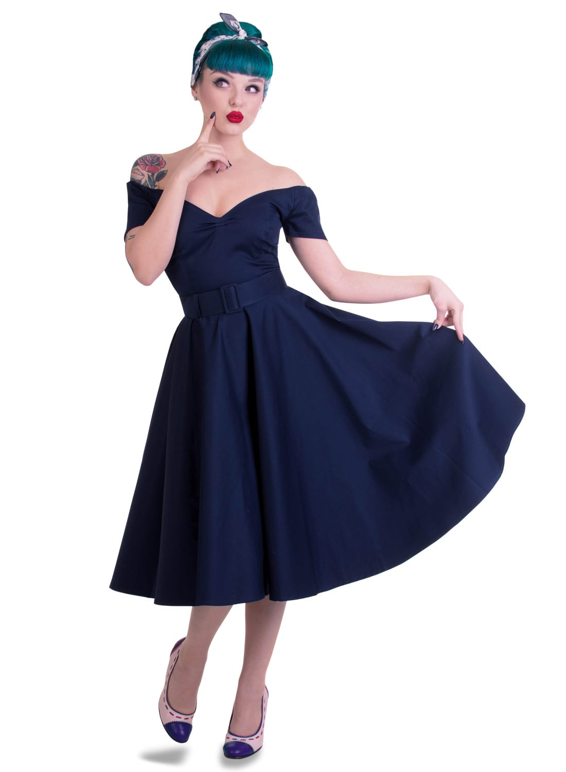 \u0027Dee Dee\u0027 Navy 50s Style Vintage Full Circle Dress