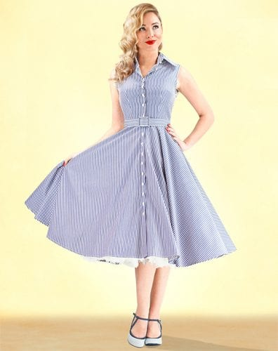 1950s style 'Go West' swing dresses in Navy stripe from British Retro