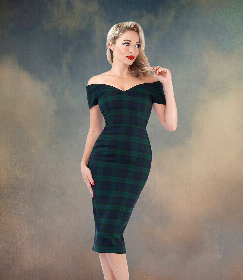 Britsh Retro - black watch tartan dresses, 50s pencil dresses, vintage clothing, vintage inspired clothing, wiggle dresses