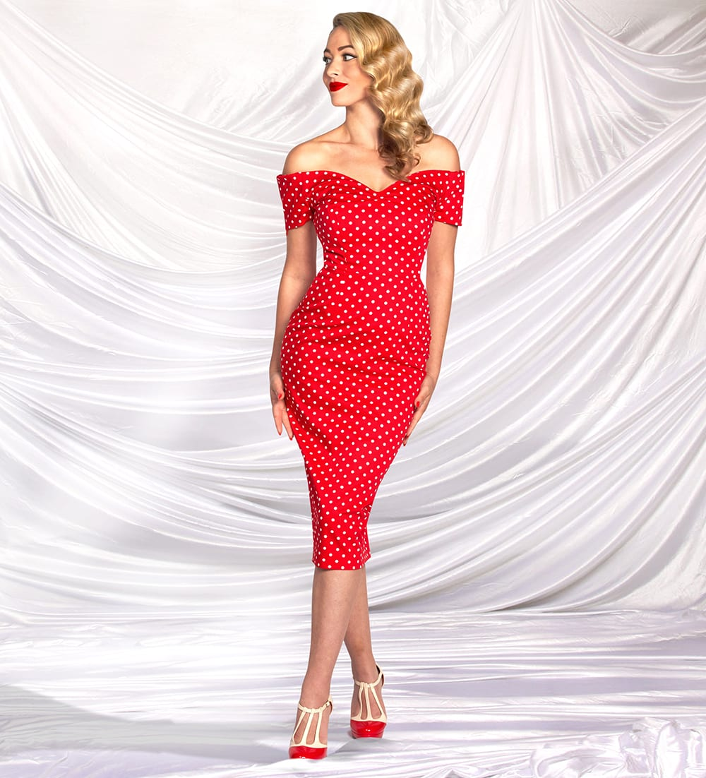 Britsh Retro Vintage Polka Dot Pencil Dress