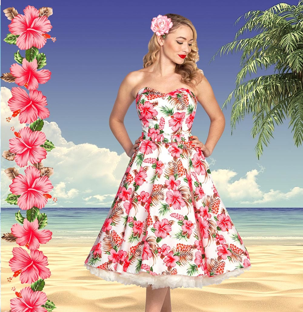 Britsh Retro Vintage Tropical Strapless 50s Swing Dress