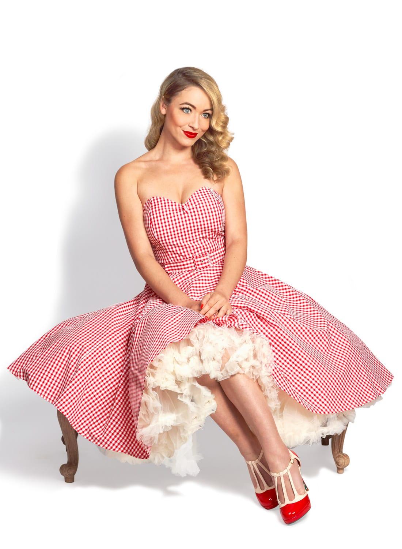 350416cd7ed5 Lola Lu Red Gingham Strapless 50s Swing Dress - British Retro