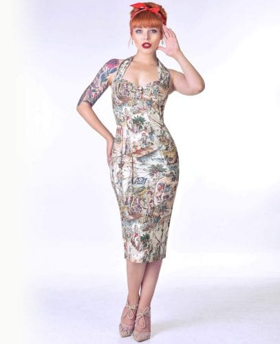 vintage inspired clothing from British Retro, including: halterneck, vintage style dress, bodycon dress