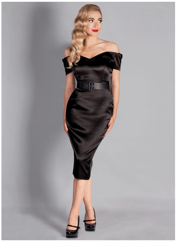 Rhonda S Revenge Satin Black Pencil Dress British Retro