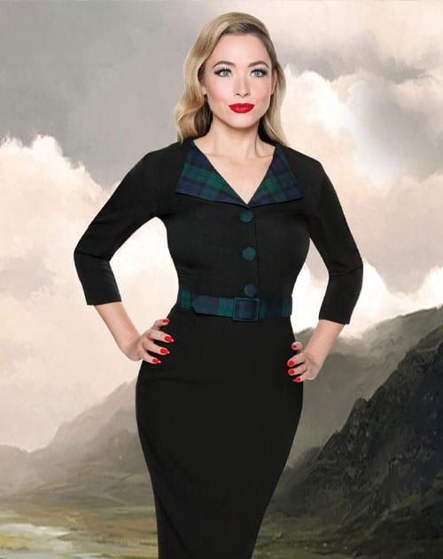 British Retro - Black Watch tartan retro-inspired wiggle dress