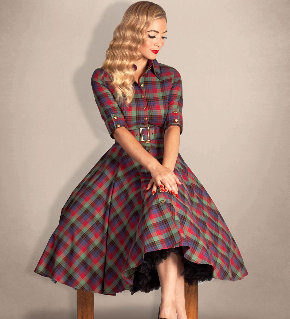 British Retro - 50s Celtic tartan full-circle