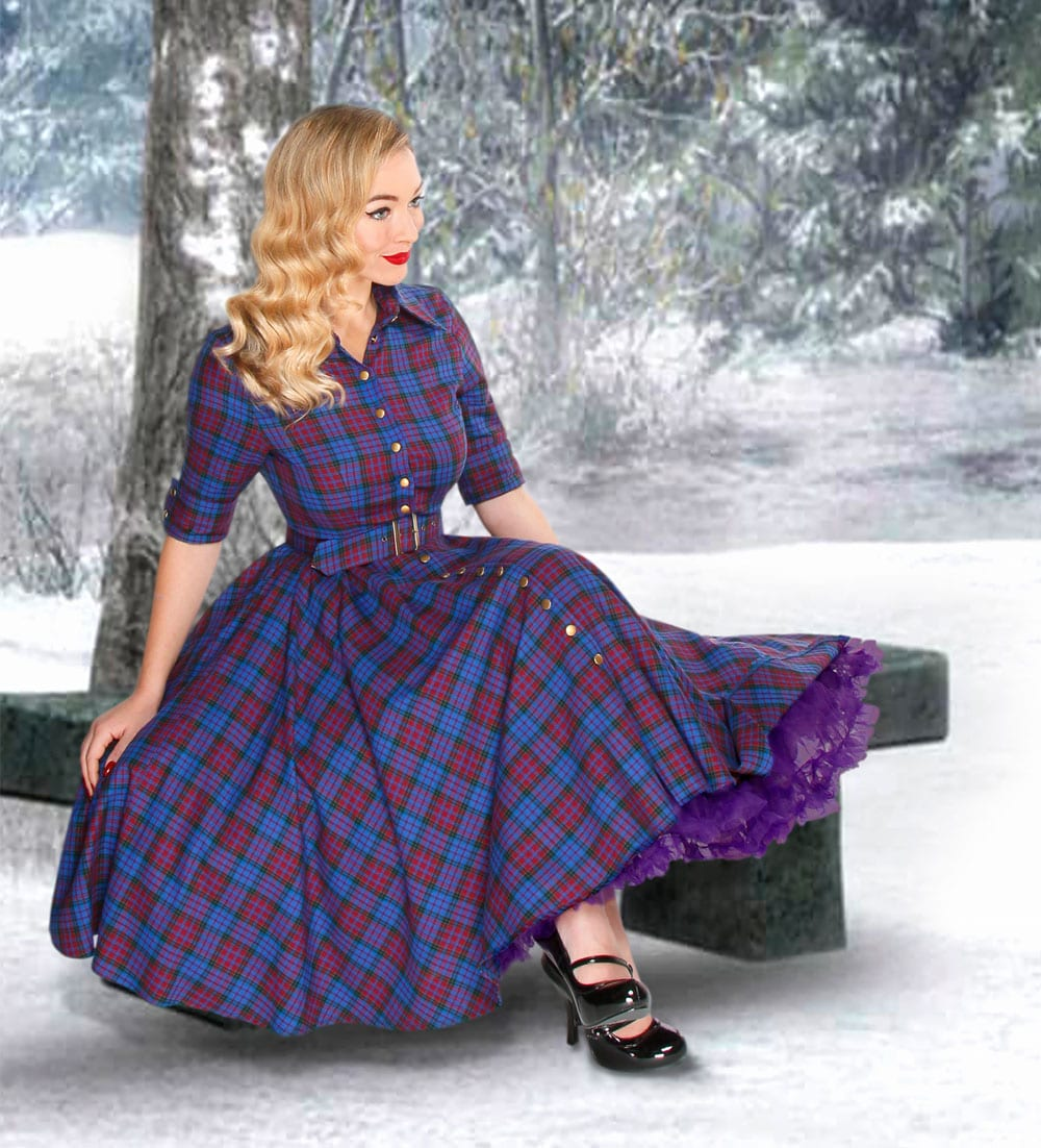 British Retro vintage dresses - full circle dress, mulberry tartan, full circle, circle dress, brushed cotton