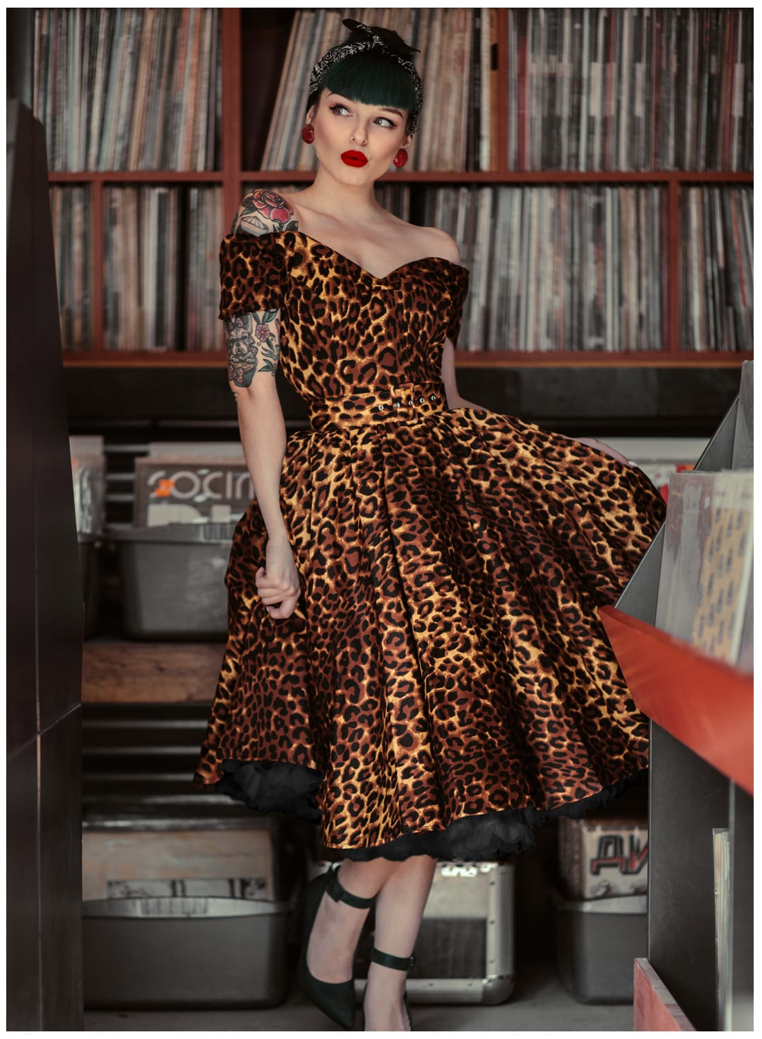 \u0027Dee Dee\u0027 Leopard Print 50s Style Full Circle Dress