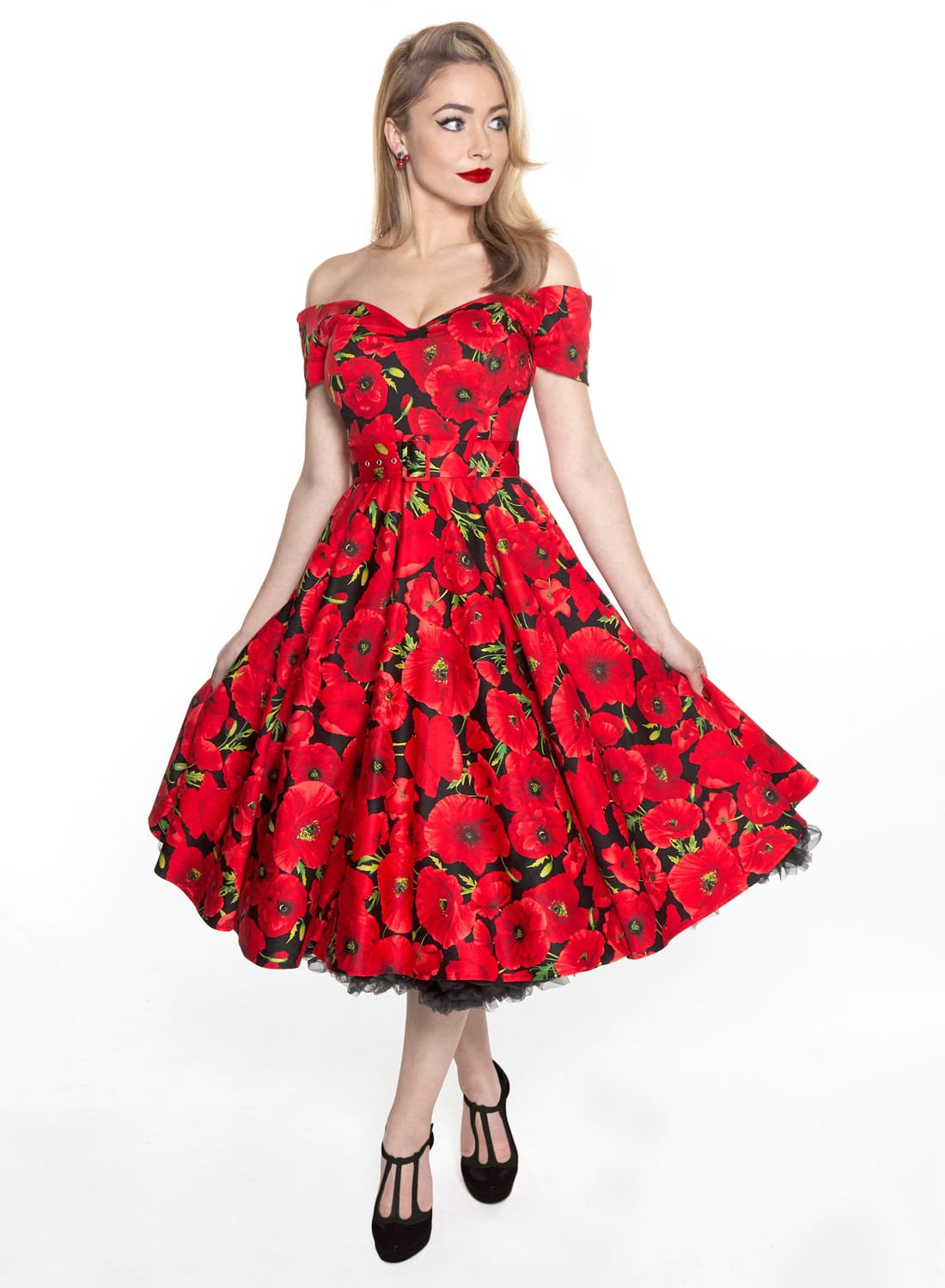 \u0027Dee Dee\u0027 Red Poppy Fields Black 50s Style Full Circle Dress