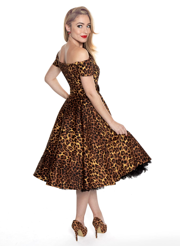 4e199fd84d8b3 Dee Dee' Leopard Print 50s Style Full Circle Dress - British Retro