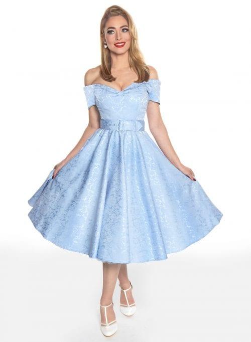 Dee Sky Blue Satin Jacquard Full Circle Dress