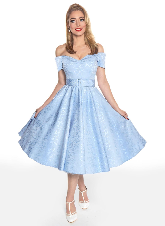b6d095ddf7131 Dee Dee Sky Blue Satin Jacquard Full Circle Dress - British Retro