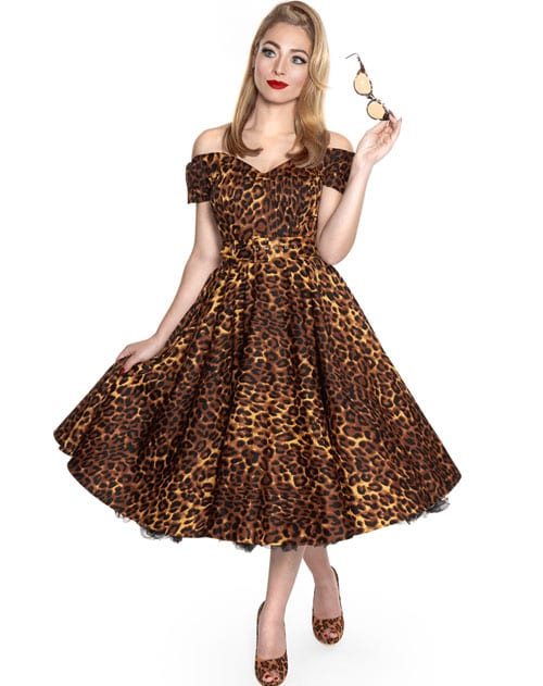 A Flared Leopard Print Dress with Feline Charm