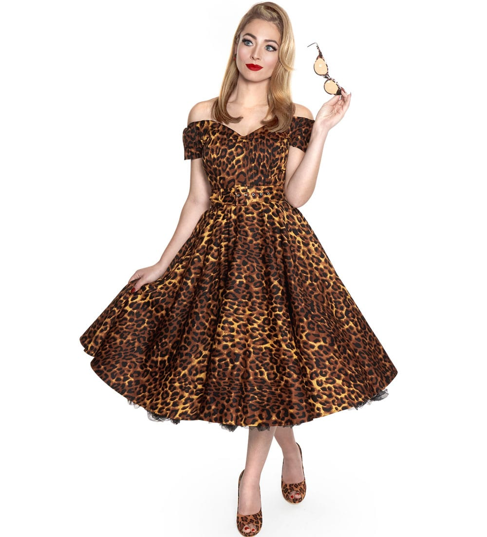British Retro vintage dresses - A Flared Dress with Feline Charm
