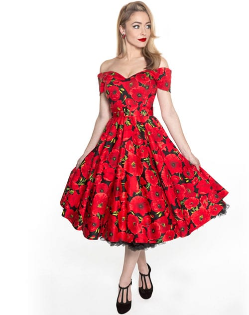 A Swing Dress in Scarlet and Black