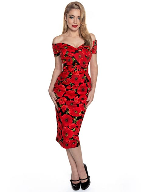 Vintage Poppies on the Perfect Pencil Dress
