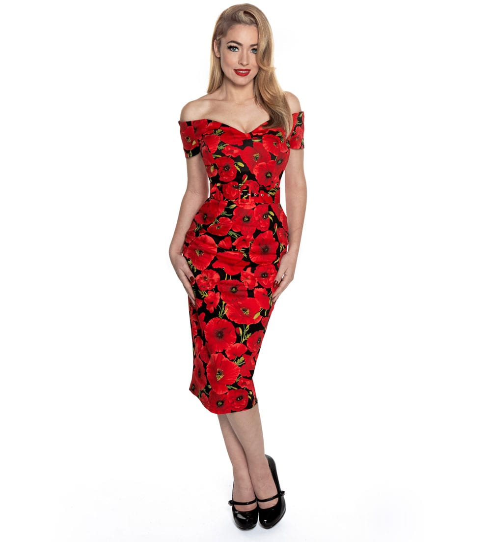 British Retro vintage dresses - Vintage Poppies on the Perfect Pencil Dress