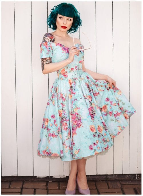 miss psycho cat in Dee Dee Blue floral Jacquard dress