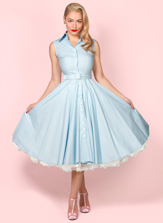 d3fa0037c7ede Go West' Baby Blue Tiny Polka Dot Swing Dress - British Retro