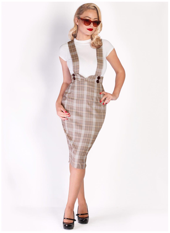 f0c2f1800f Dixie Doll  Country Check Pinafore Pencil Skirt - British Retro