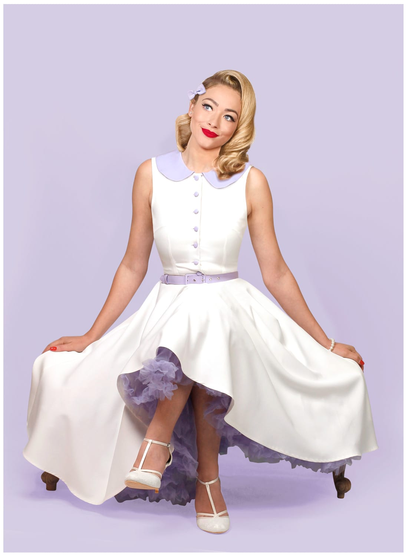 Matilda Ivory Peter Pan Collar 50s Dress British Retro