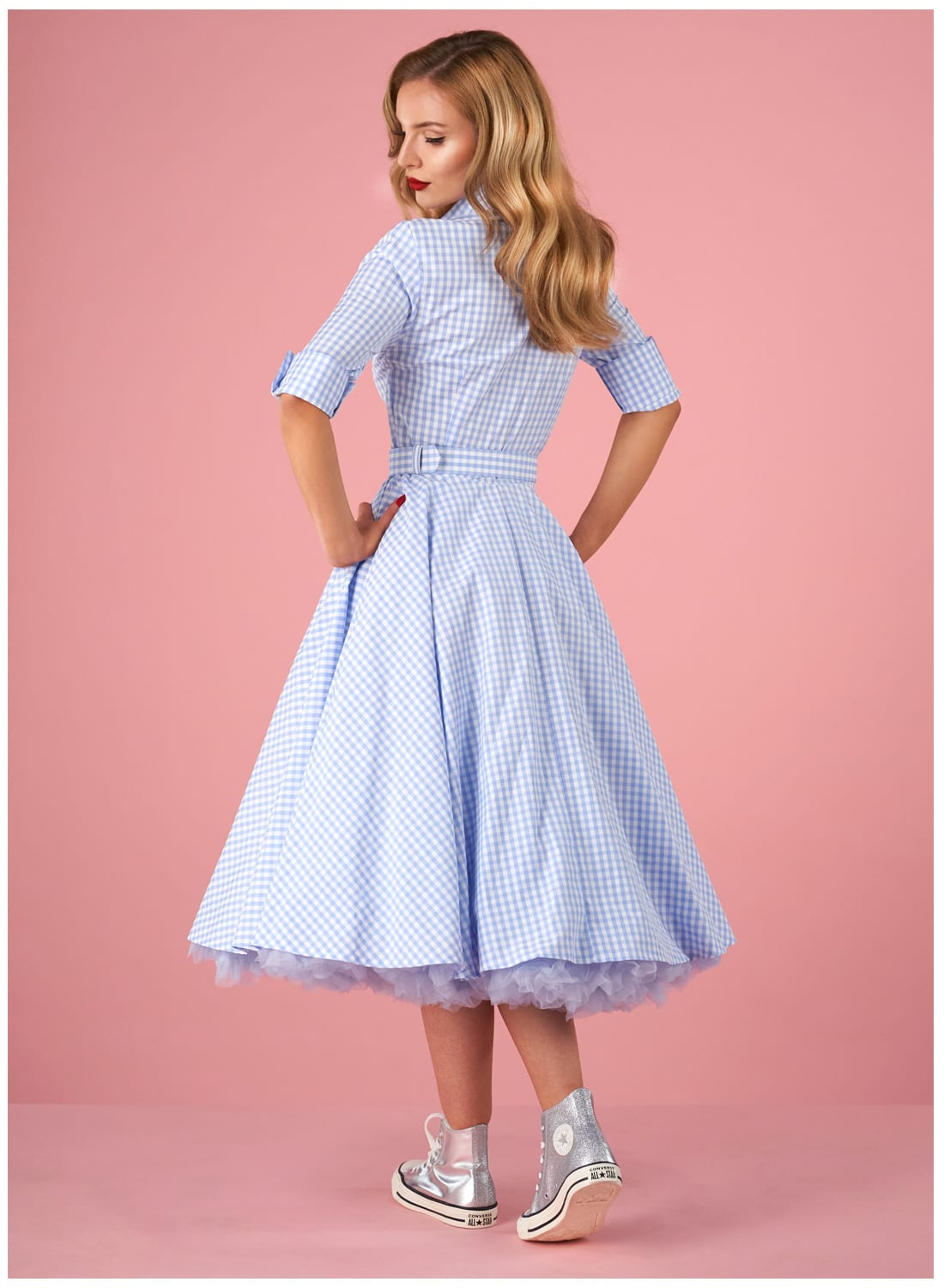 24f34c540e060 Way Out West' Baby Blue Gingham Vintage Swing Dress - British Retro