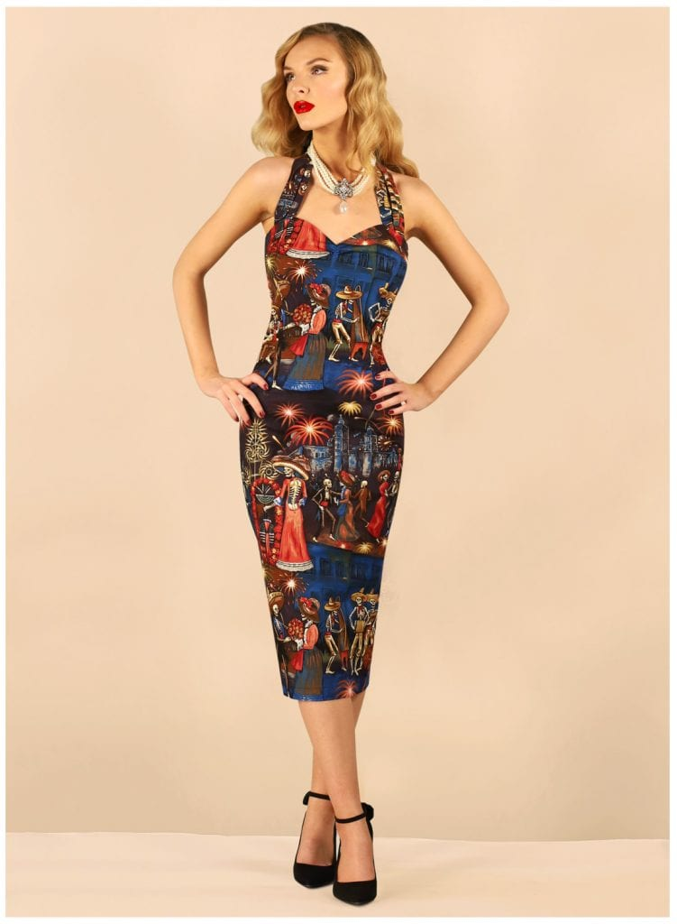 British Retro Vintage Dresses - 'Fiesta For The Dead' Rockabilly Pencil Dress