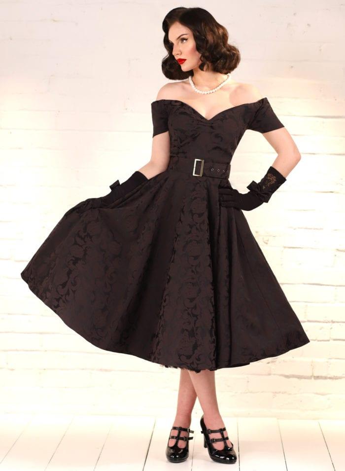 Dee Dee Black Satin Jacquard Full Circle Dress