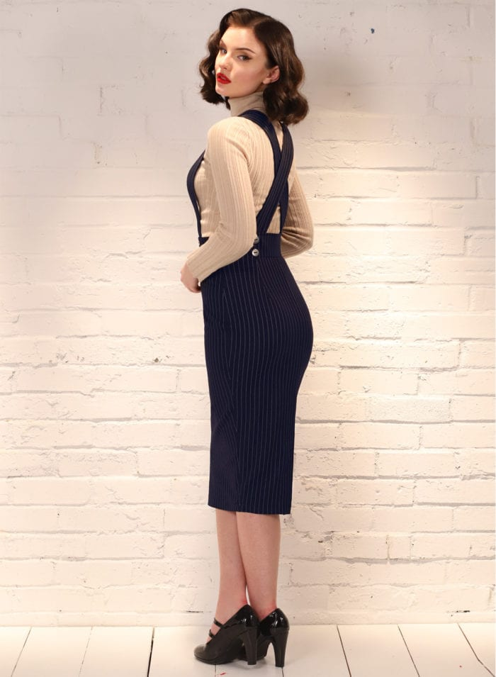 'Dixie Doll' French Navy Pin-Stripe 50s Pencil Skirt