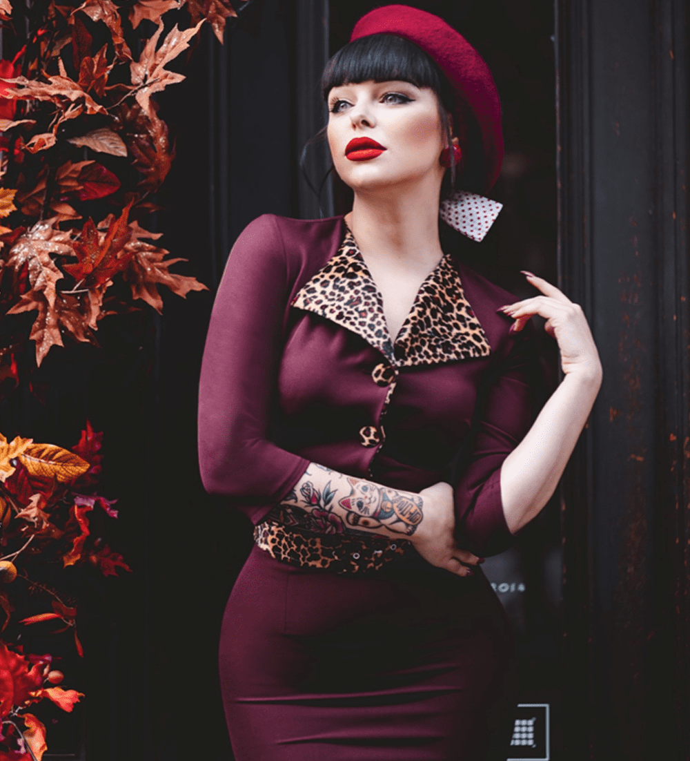 British Retro Vintage Fashion - Bordeaux Tallulah Zulu 50s Leopard Pencil Dress