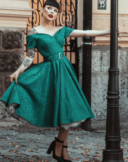 British Retro Vintage Fashion - Dee Dee Emerald Satin Jacquard Full Circle Dress