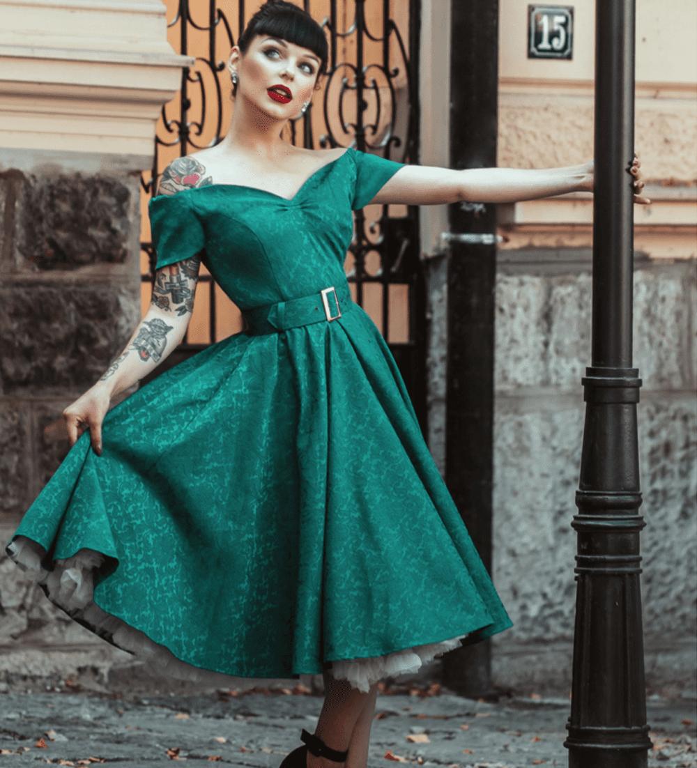 British Retro Vintage Fashion - Dee Dee Emerald Satin Jacquard Full Circle Dress
