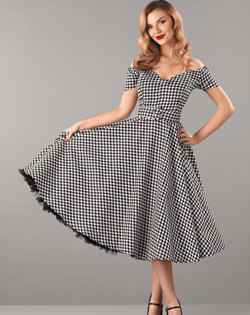 British Retro Vintage Fashion - Dee Dee Houndstooth Full Circle Dress