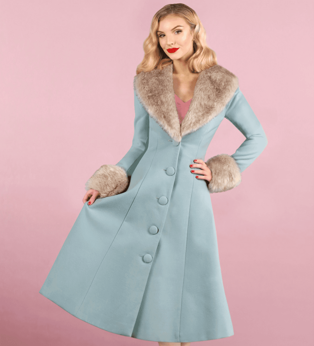 British Retro Vintage Fashion - Winter Ice Blue Wonderland Coat