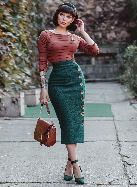 venus boucle bottle green 50s pencil skirt british retro