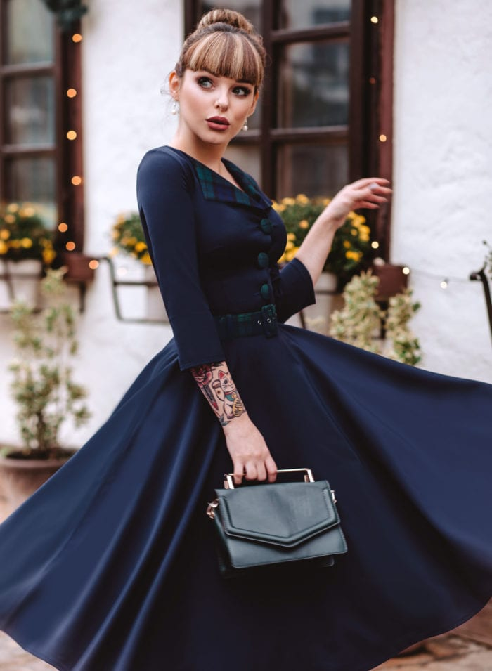 Tallulah Black Watch Full Circle Swing Dress