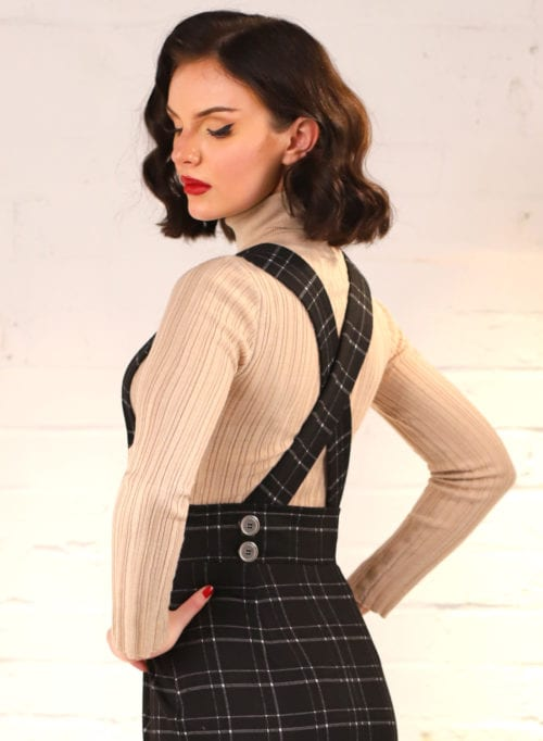 Dixie Doll Black Check 50s Style Pencil Skirt