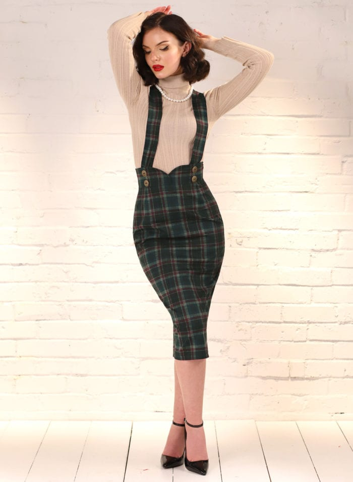 Dixie Doll Green Tartan 50s Style Pencil Skir