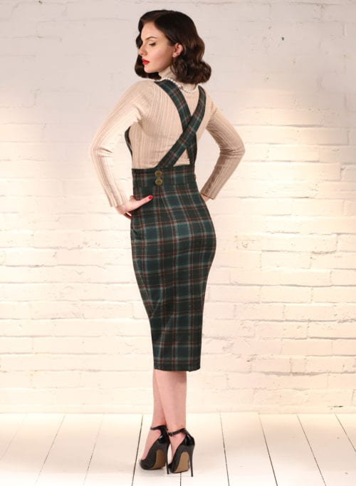 Dixie Doll Green Tartan 50s Style Pencil Skir